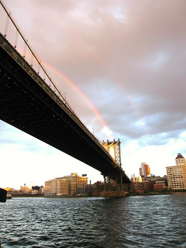 double rainbow after storm, Brooklyn bridge by Robylandia.