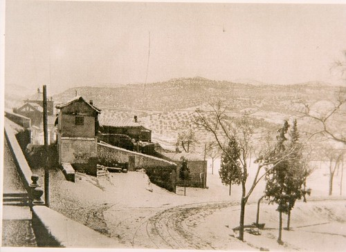 Paseo del Tránsito nevado a principios del siglo XX