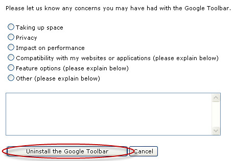 uninstall google toolbar