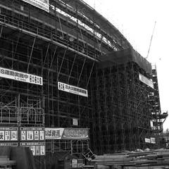 baseball stadium (akira ASKR) Tags: bw construction baseball stadium scaffold okinawa  ricoh r8 baseballstadium