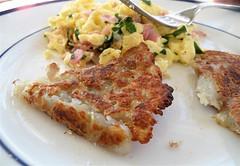 rosti potatoes and scrambled eggs w/prosciutto & spinach