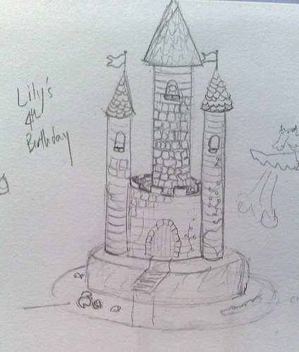 Lily's 4th birthday cake - sketch