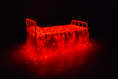 """The """"Bloody"""" Bed (Namisan) Tags: light red art darkroom blood bed neon darkness horror bloody neonlight luminescent luminated"""