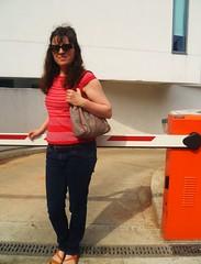 Anna (teaselbrush) Tags: street uk red portrait england urban woman girl sunglasses vintage dark skinny photography sussex coast town seaside brighton top sandals south knit style retro east jeans denim british brunette tweed knitwear handbac