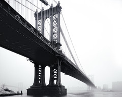 Manhattan Bridge in Blizzard, New York City (andrew c mace) Tags: nyc newyorkcity blackandwhite snow film brooklyn manhattan dumbo manhattanbridge 4x5 blizzard largeformat cambo provia100 nikoncapturenx nikkor75mm