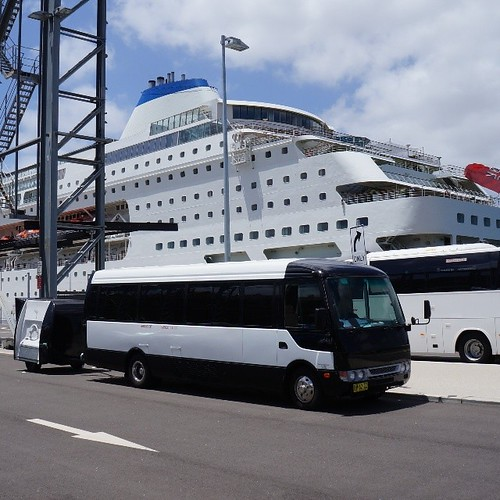 Our Corporate Hire Bus chauffeuring a group to their cruise.