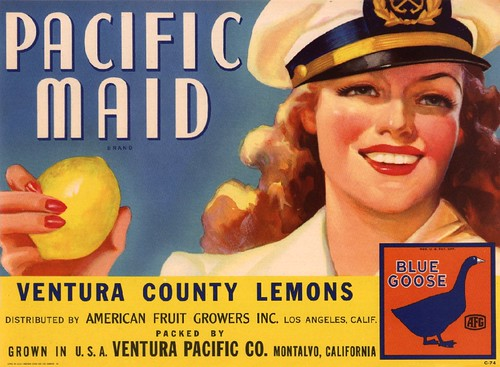 Pacific Maid Lemons - Fruit Crate Art - Ventura Pacfic Co.