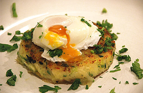Bubble & Squeak Cakes with Poached Eggs