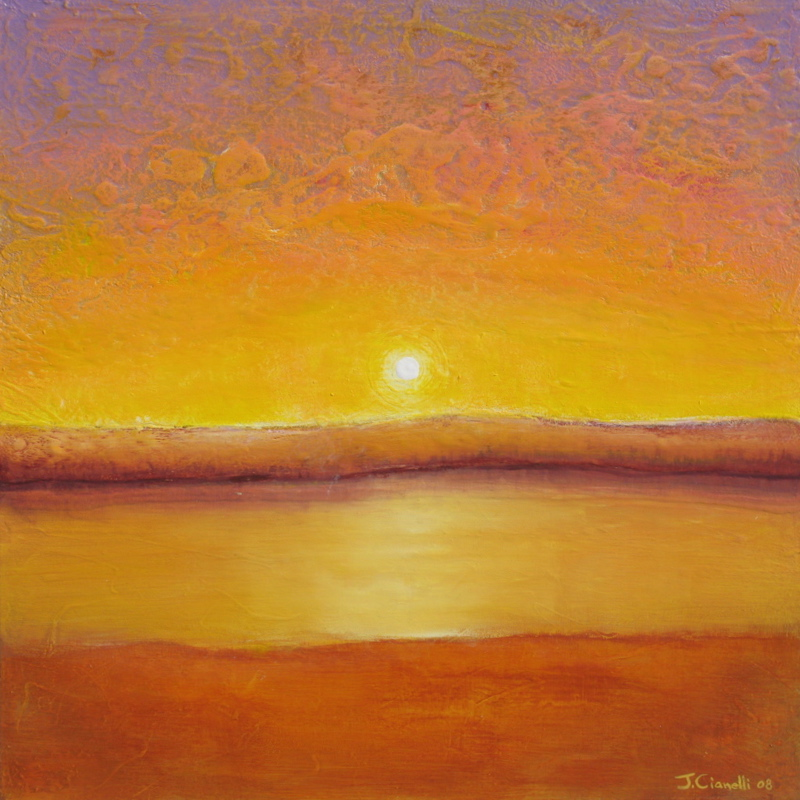 Gold Sun Contemporary Abstract Landscape Painting
