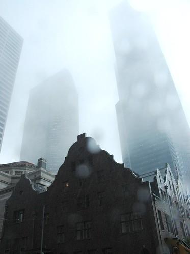 Fog and Rain, Seattle Columbia tower, above Men's Rainier Club, downtown Seattle, Washington, USA by Wonderlane