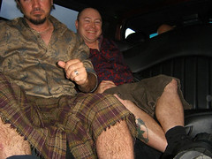 Deserate Housewives Wrap Party, 2005-- limo and (my) utilikilts.jpg