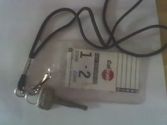 public transit pass and keys on lanyard with clip