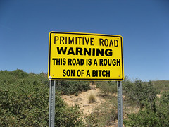 Warning sign (twm1340) Tags: road sign warning beware explore caution rough primitive maybemaybenot butwhoknows possiblyphotoshopped