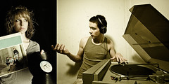 Day 340: Just for the Record (Nick Today) Tags: portrait white black self diptych dj duet days retro offer collab sharing record 365 collaboration amalie awesomename filmtexture
