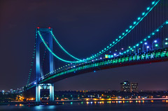 night span (mudpig) Tags: nyc newyorkcity longexposure bridge ny newyork reflection brooklyn night geotagged lights nikon exposure view nocturnal suspension statenisland hdr narrows d300 verrazano verrazanonarrows mudpig harborentrance stevekelley verrazaonnarrows