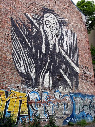 奧斯陸街頭的仿「吶喊」噴畫 (by Audiofan)