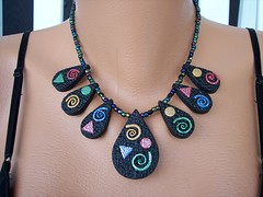 Partay Drops Necklace (clayangel_sc) Tags: art beauty fashion necklace beads artist handmade originalart ooak polymerclay clay gift handcrafted wearableart accessories bracelets earrings acessories brooches necklaces artjewelry hypoallergenic adornments artisanjewelry canework handmadebeads artbeads handcraftedbeads notpainted polymerclayjewelry oneofakindjewelry fauxjewelry southcarolinaartist jewelryartisan boldjewelry clayangel oneofakindpiece clayangelsc nopaintisinvolved finising