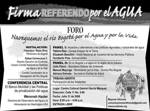 Invitación foro regional Firma Referendo por el agua - 31 jul 2008
