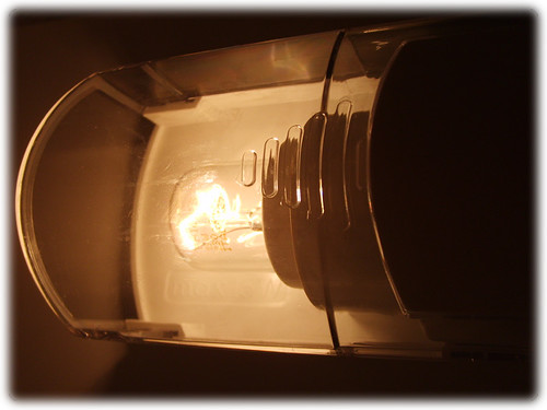 Lamp in fridge - open door
