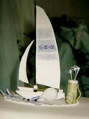 Wedding Cake Topper (abbietabbie) Tags: weddingcake catamaran skis edible topper golfclubs tennisracquet mexicanpaste