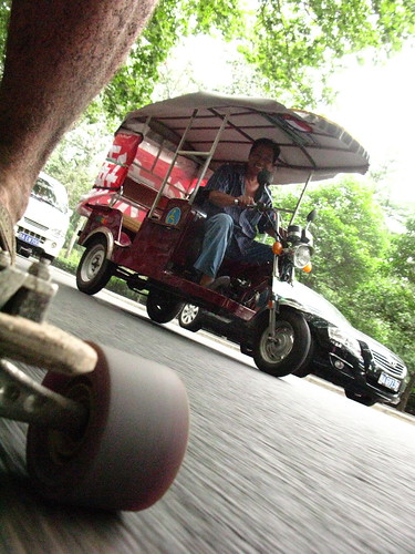 I am being followed by a tuktuk in Xi'an, Shaanxi Province, China