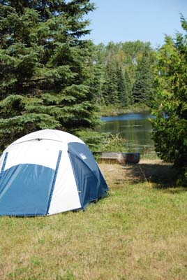 tent view on gust lake