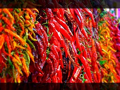 Red Hot Chilly Peppers (Madiash) Tags: barcelona red orange hot colors yellow spain travels holidays colorful europe market vivid chilly boqueria colorphotoaward colourartaward artlegacy goldstaraward