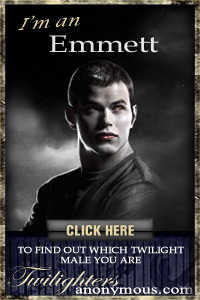 I'm a Emmett! I found out through TwilightersAnonymous.com. Which Twilight Male Are You? Take the quiz and find out!