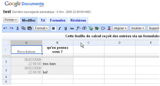 google tableur ancien