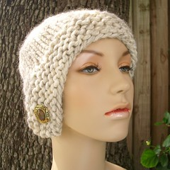 Chunky Cloche Hat in Wheat with Tawny Vintage Button