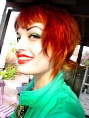 230d (Hawkeye_Pippi (Melissa Eve/frecklemunster)) Tags: green smile cam teeth redlips freckles pigtails redhair orangehair septum greeneyeshadow