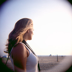 To the West (Brian Auer) Tags: california portrait people woman sunlight color film beach female outside person lomography sand unitedstates kodak outdoor santamonica toycamera 120format naturallight diana photowalk asa400 portra400vc 75mm jessicapowell negativecolorfilm september08 pushandpray featuredonadidapcom