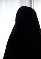 black veil white light 1 (The Art of Veiling) Tags: white black women veiled veil dress muslim islam hijab niqab abaya khimar