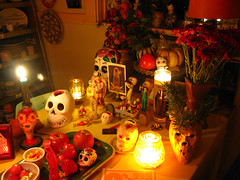 Muertos Table By Candlelight (prima seadiva-moving slow) Tags: canon skulls skeleton death altar mementomori diadelosmuertos muertos tacomaartmuseum g9