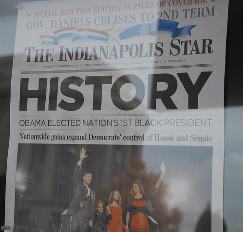 The front page of the Indianapolis Star announcing Barack Obama's election