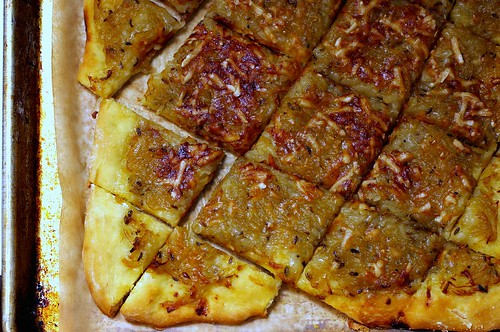 onion tart with mustard and fennel