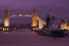 Tower Bridge & HMS Belfast (Ian Lambert) Tags: bridge london tower thames londonbridge river searchthebest dusk belfast hms mywinners flickrlovers