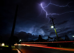 Fingers (Matthew Stewart | Photographer) Tags: light red orange storm rain hail night matthew trails brisbane trail stewart lightning blueribbonwinner aplusphoto onephotoweeklycontest onephotoweeklycontestwinner