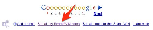 SearchWiki My Notes