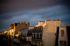 Memories (Shemer) Tags: blue sunset sky paris france building yellow clouds buildings stormy shemer שמר shimritabraham שימריתאברהם