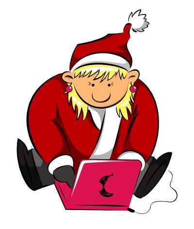 weihnachtsfrau am compi unter freier lizenz von kritzel und mari*us