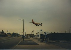Southwest Airlines plane landing at Chicago's Midway Airport. Chicago Illinois. September 1987.