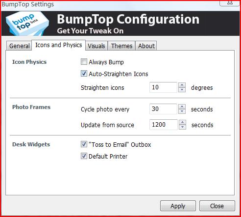 BumpTop setting