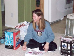 Jen with some of her gifts x-mas 08 (jcosta719) Tags: xmas smile jen presents
