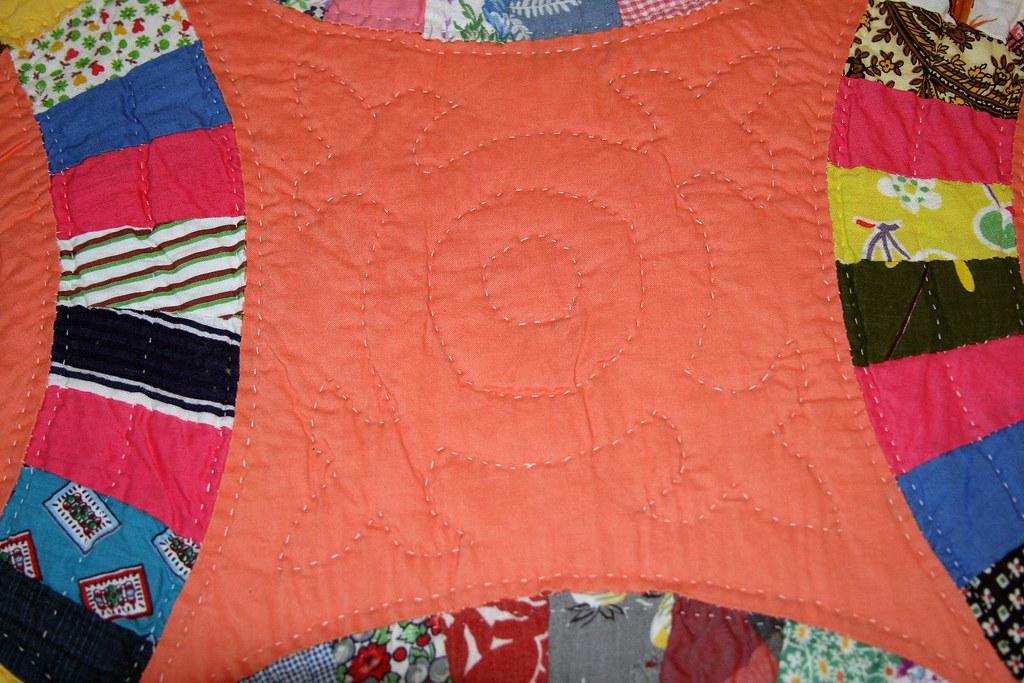 Great Grandma's Quilt -- Orange Double Wedding Ring
