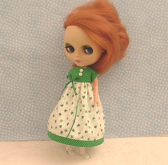 Shamrocks Long Dress for Blythe (sewgrandmacathy) Tags: doll dress dal pullip blythe etsy shamrocks momoko