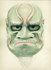 Japanese Noh Mask (Ivan Kaminoff) Tags: japan pencil watercolor painting japanese sketch mask drawing noh drama graphite rendering