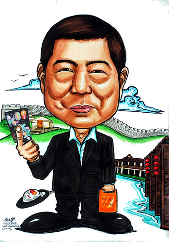 Caricature sketch of Mastercard  Mr Willie Fung in colour