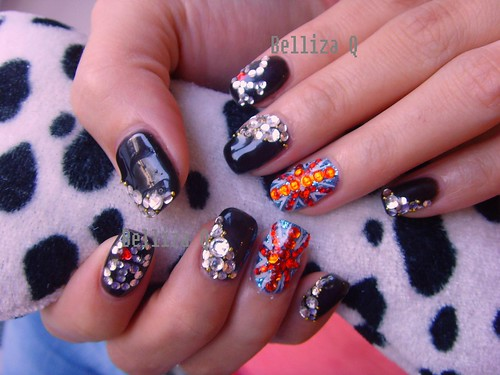 Nail Art Gallery Black Colour Gelairbrush Nail Art