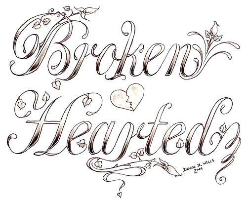 """Broken Hearted"" Tattoo design by Denise A. Wells"